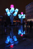 Blue street lamps reflecting on Place Pradel Royalty Free Stock Photography