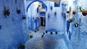 Blue street in Chefchaouen, Morocco royalty free stock images