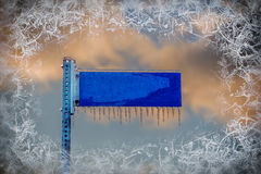 Blue Street Sign with Icicles - Blank and Copy Space Stock Photos