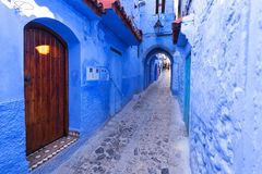Blue street walls of the popular city of Morocco, Chefchaouen. royalty free stock photo