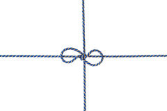 Blue string or twine tied in a bow isolated on white background Stock Photos