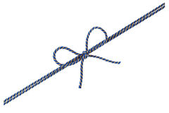 Blue string or twine tied in a bow isolated on white background Stock Photo