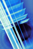 Blue Strings. Moving strings on a guitar Stock Photography
