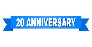 Blue Stripe with 20 ANNIVERSARY Title. 20 ANNIVERSARY text on a ribbon. Designed with white title and blue tape. Vector banner with 20 ANNIVERSARY tag Stock Photography