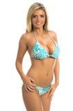 Blue Stripe Bikini Blonde Stock Images