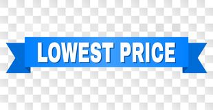 Blue Stripe with LOWEST PRICE Title. LOWEST PRICE text on a ribbon. Designed with white title and blue tape. Vector banner with LOWEST PRICE tag on a transparent vector illustration