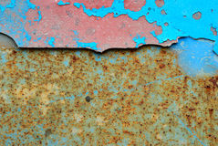 Blue stripe on old plate Royalty Free Stock Photo
