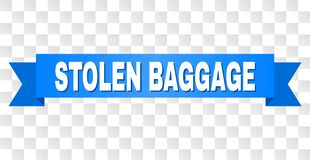 Blue Stripe with STOLEN BAGGAGE Title. STOLEN BAGGAGE text on a ribbon. Designed with white title and blue stripe. Vector banner with STOLEN BAGGAGE tag on a stock illustration