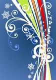 Blue striped background. White pattern with snowflakes and curls on a dark blue background Royalty Free Stock Images