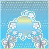 Blue striped background with flower ornament Stock Photos