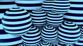 Blue striped balls 3D rendering background. Blue striped balls, 3D rendering background Stock Image