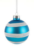 Blue Striped Bauble Stock Image