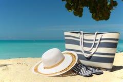 Blue striped beach bag Stock Photos