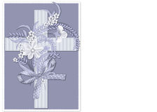 Blue Striped Christian Cross Background. This background was created with a soft blue colored cross. The cross is topped with flowers, ribbons, and bow. The royalty free illustration