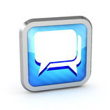 Blue striped dialog icon Royalty Free Stock Photos