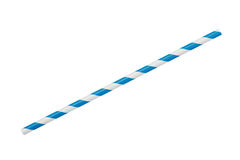 Blue striped eco paper straw isolated on white. Background Royalty Free Stock Photos