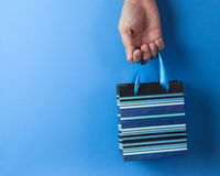 Blue striped gift bag Royalty Free Stock Photos