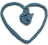 Blue striped knitting scarf as heart on white Stock Photography