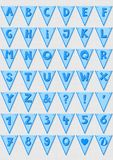 Blue striped letters and numbers flag alphabet set Stock Images
