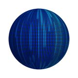 Blue striped lines in technology concept. pattern texture on ball or sphere shape isolated on white background. Mock up design. 3d vector illustration