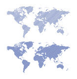 Blue striped vector maps of world Stock Image