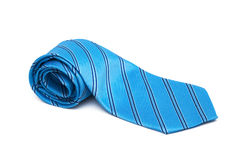 Blue striped necktie Royalty Free Stock Image
