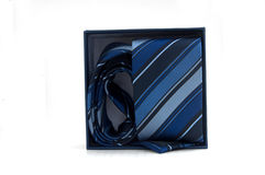 Blue striped necktie in a box Stock Image