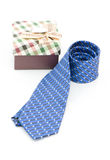 Blue striped necktie on a white background Stock Photography