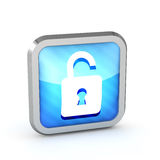 Blue striped open padlock icon Royalty Free Stock Image