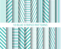 20 blue striped patterns. 20 blue stripes patterns,  Pattern Swatches, vector, Endless texture can be used for wallpaper, pattern fills, web page,background Royalty Free Stock Photos