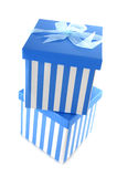 Blue striped presents Stock Photo