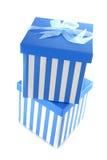 Blue striped presents Stock Photo