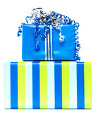 Blue and striped presents Royalty Free Stock Photo