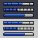 Blue Striped Progress Bar Set Stock Photos