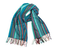 Blue striped scarf. Stock Images