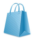 Blue striped shopping bag Royalty Free Stock Image