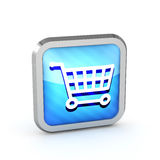 Blue striped shopping cart icon Royalty Free Stock Images