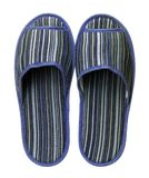 Blue striped slippers isolated on white background. Close up, high resolution Stock Images