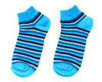 Blue striped socks. Isolated on white Royalty Free Stock Image