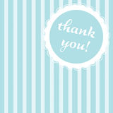 Blue striped thank you note. Thank you note with a blue striped background Stock Image