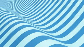 Blue striped. Wavy shape, optical illusion. Abstract pattern stock illustration
