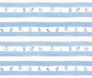 Blue stripes with anchors on watercolor white paper. Hand painted seamless pattern.  Royalty Free Stock Photography