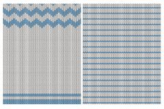 Cute Knitted Fabric Style Vector Patterns. Blue and Off-White Simple Design. Chevron and Stripes. royalty free illustration
