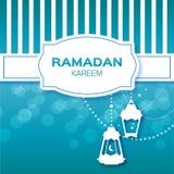 Blue Stripes Ramadan Kareem celebration greeting card. Stock Photo