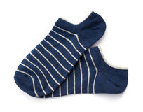 Blue stripes socks on white background Stock Photos