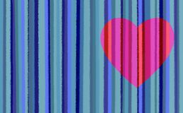 Blue Stripes With Pink Heart Royalty Free Stock Photo