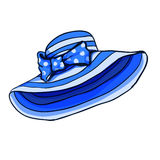 Blue stripped summer cartoon hat whit bow for game design. Stock Images