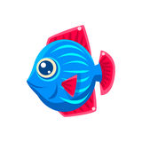 Blue Stripy Fantastic Aquarium Tropical Friendly Fish Cartoon Character. Fantasy Warm Water Aquatic Life And Marine Fish Collection Element Royalty Free Stock Images