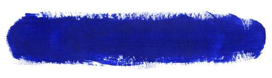 Blue stroke of gouache paint brush. Isolated on white vector illustration