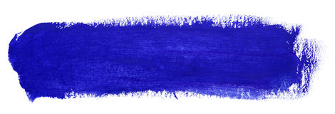 Blue stroke of gouache paint brush Royalty Free Stock Photos